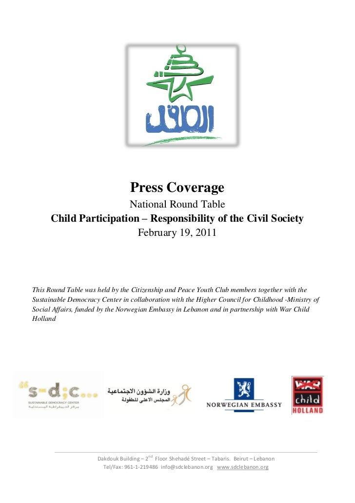 Press Coverage                       National Round Table      Child Participation – Responsibility of the Civil Society  ...