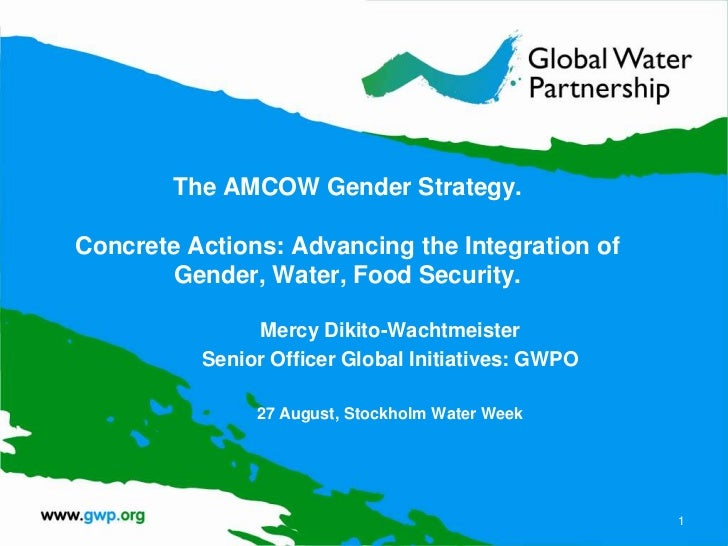 The AMCOW Gender Strategy.Concrete Actions: Advancing the Integration of        Gender, Water, Food Security.             ...