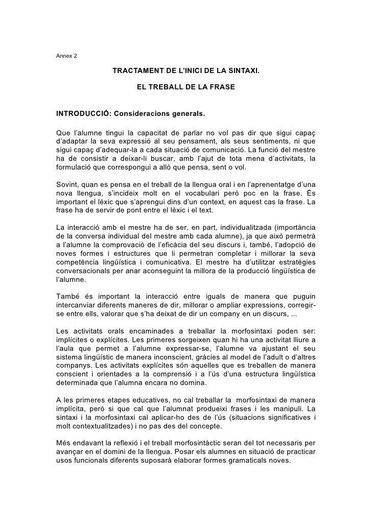 Annex 2                   TRACTAMENT DE L'INICI DE LA SINTAXI.                           EL TREBALL DE LA FRASE   INTRODUC...