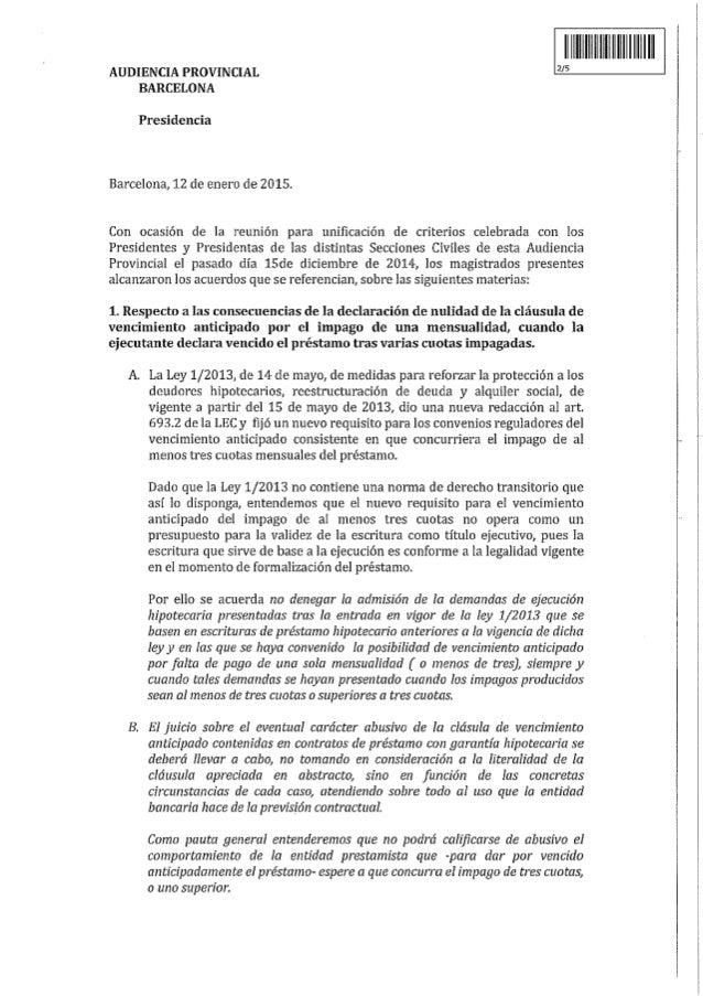 CUERDOS ADOPTADOS POR LOS MAGISTRADOS DE LAS SECCIONES CIVILES DE LA AUDIENCIA PROVINCIAL DE BARCELONA