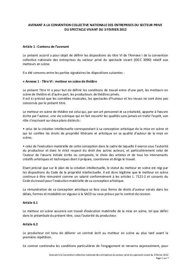 AVENANT A LA CONVENTION COLLECTIVE NATIONALE DES ENTREPRISES DU SECTEUR PRIVE DU SPECTACLE VIVANT DU 3 FEVRIER 2012 Articl...