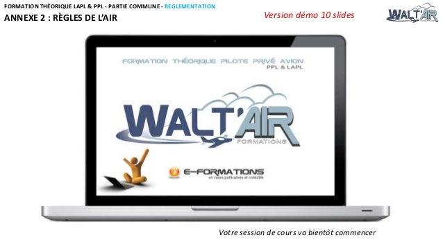 FORMATION THÉORIQUE LAPL & PPL - PARTIE COMMUNE - REGLEMENTATION  ANNEXE 2 : RÈGLES DE L'AIR  Version démo 10 slides  Votr...