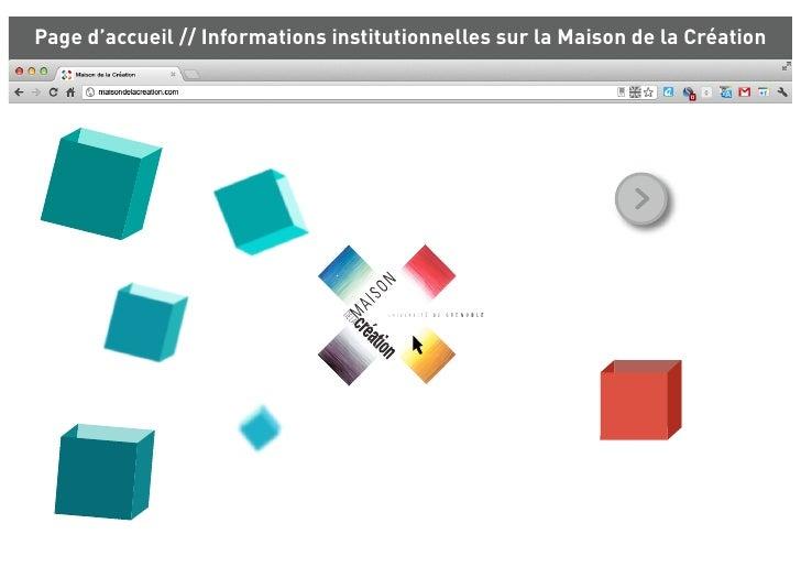 Page d'accueil // Informations institutionnelles sur la Maison de la Création