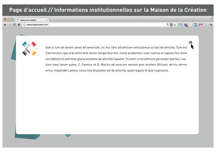 Page d'accueil // Informations institutionnelles sur la Maison de la Création              Sed ut tum ad senem senex de se...