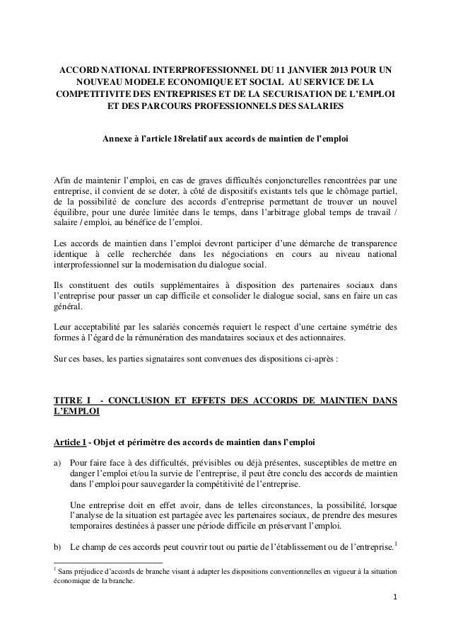 ACCORD NATIONAL INTERPROFESSIONNEL DU 11 JANVIER 2013 POUR UN    NOUVEAU MODELE ECONOMIQUE ET SOCIAL AU SERVICE DE LACOMPE...