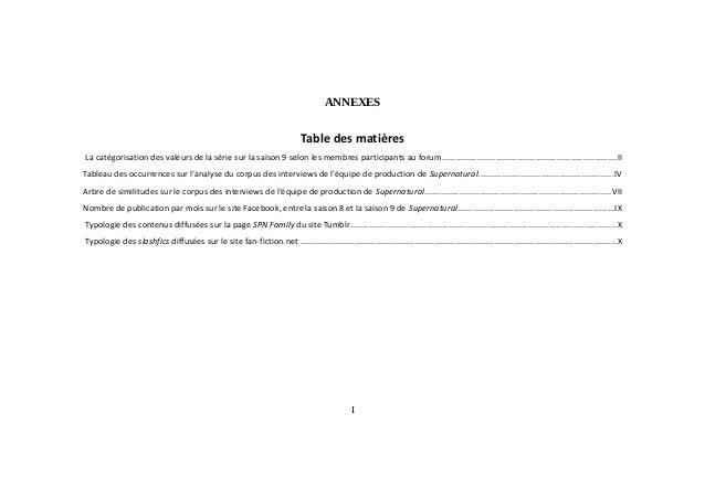 ANNEXES Table des matières La catégorisation des valeurs de la série sur la saison 9 selon les membres participants au for...