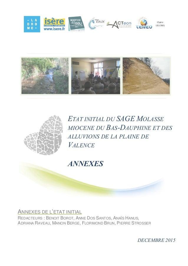 ETAT INITIAL DU SAGE MOLASSE MIOCENE DU BAS-DAUPHINE ET DES ALLUVIONS DE LA PLAINE DE VALENCE ANNEXES ANNEXES DE L'ETAT IN...