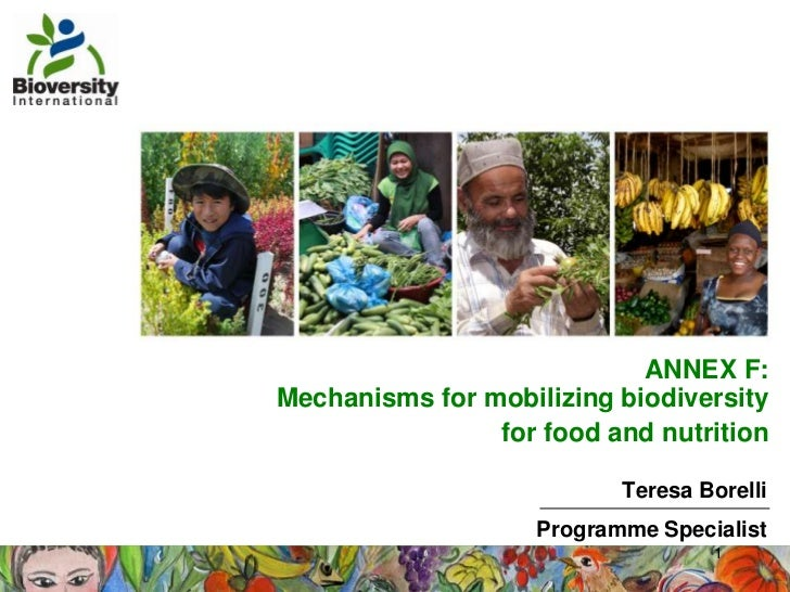 ANNEX F:Mechanisms for mobilizing biodiversity                for food and nutrition                           Teresa Bore...