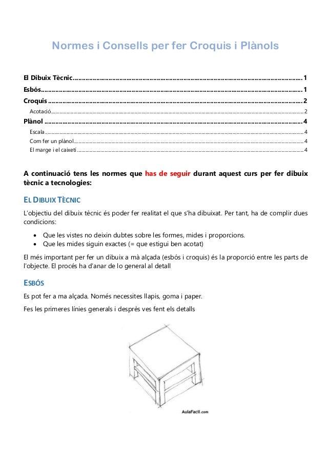 Normes i Consells per fer Croquis i Plànols El Dibuix Tècnic.................................................................