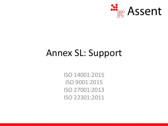 Annex SL: Support ISO 14001:2015 ISO 9001:2015 ISO 27001:2013 ISO 22301:2011