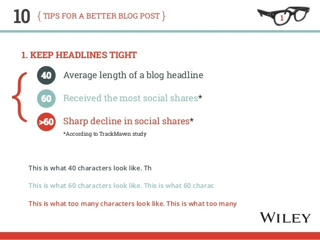 10 tips for a better blog post  1. Keep Headlines Tight  This is what 40 characters look like. Th  This is what 60 charact...