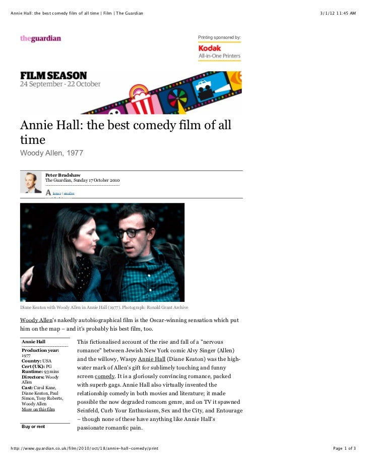 Annie Hall: the best comedy film of all time | Film | The Guardian                                                  3/1/12...