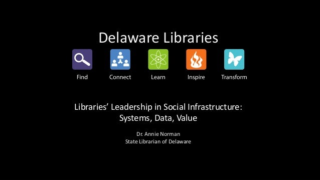 Delaware Libraries Libraries' Leadership in Social Infrastructure: Systems, Data, Value Dr. Annie Norman State Librarian o...