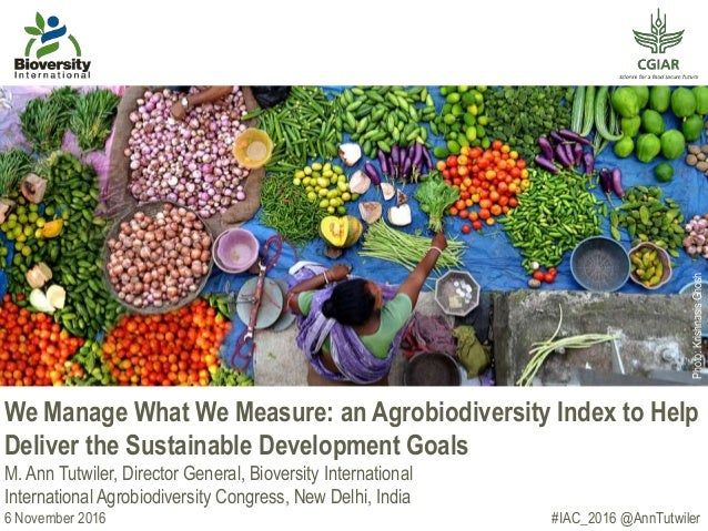 We Manage What We Measure: an Agrobiodiversity Index to Help Deliver the Sustainable Development Goals M. Ann Tutwiler, Di...
