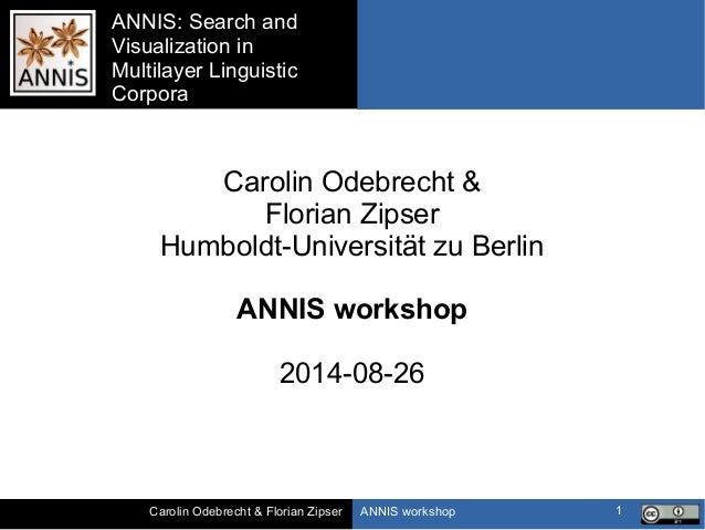 ANNIS workshopCarolin Odebrecht & Florian Zipser ANNIS: Search and Visualization in Multilayer Linguistic Corpora 1 Caroli...