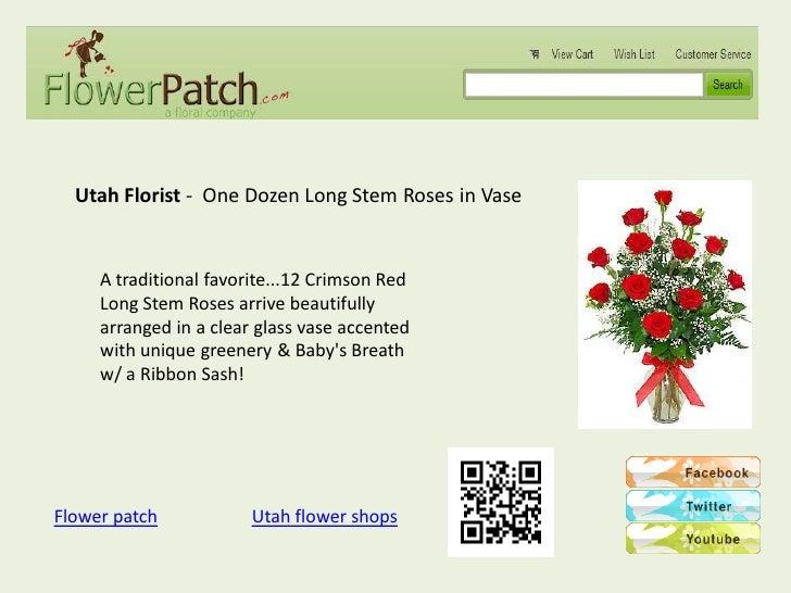 Utah Florist - One Dozen Long Stem Roses in Vase     A traditional favorite...12 Crimson Red     Long Stem Roses arrive be...