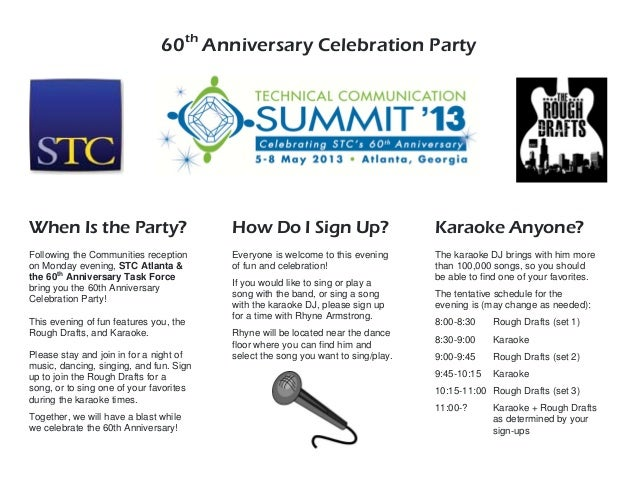 60thAnniversary Celebration PartyWhen Is the Party?Following the Communities receptionon Monday evening, STC Atlanta &the ...