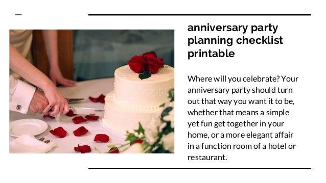 25th anniversary party checklist