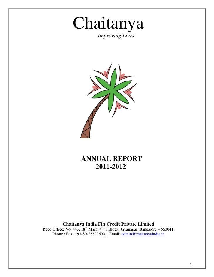 Chaitanya                               Improving Lives                      ANNUAL REPORT                         2011-20...
