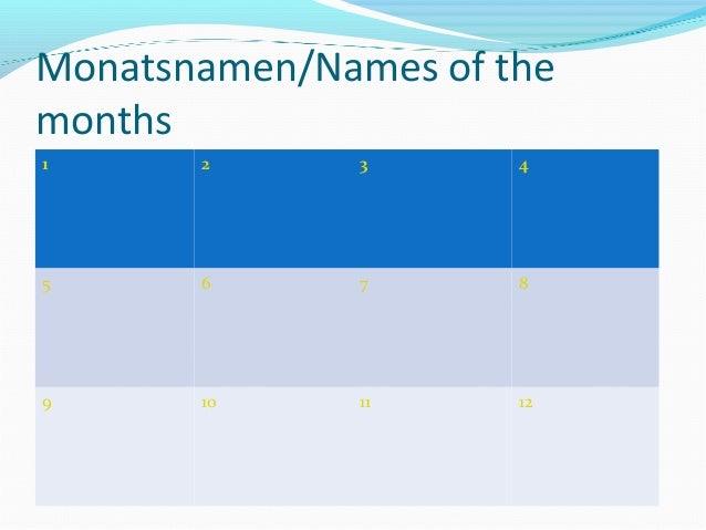 Monatsnamen/Names of the months 1 2 3 4 5 6 7 8 9 10 11 12