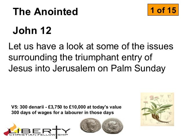 Let us have a look at some of the issuessurrounding the triumphant entry ofJesus into Jerusalem on Palm SundayThe Anointed...