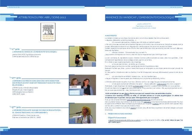 Alter Ego n°34 – Juin 2013Alter Ego n°34 – Juin 2013 1er prix « ANNONCE DU HANDICAP / DIMENSION PSYCHOLOGIQUE » 2ème prix ...