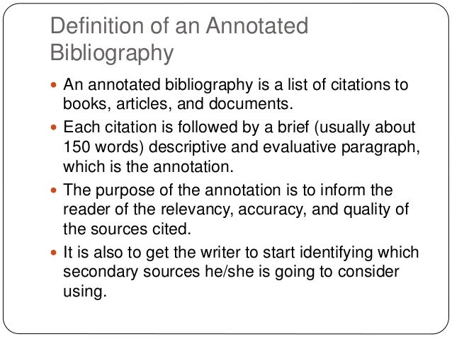 Definition of annotated bibliography