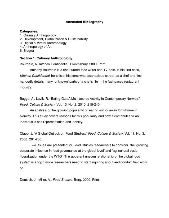Bibliography Essay Annotated Template
