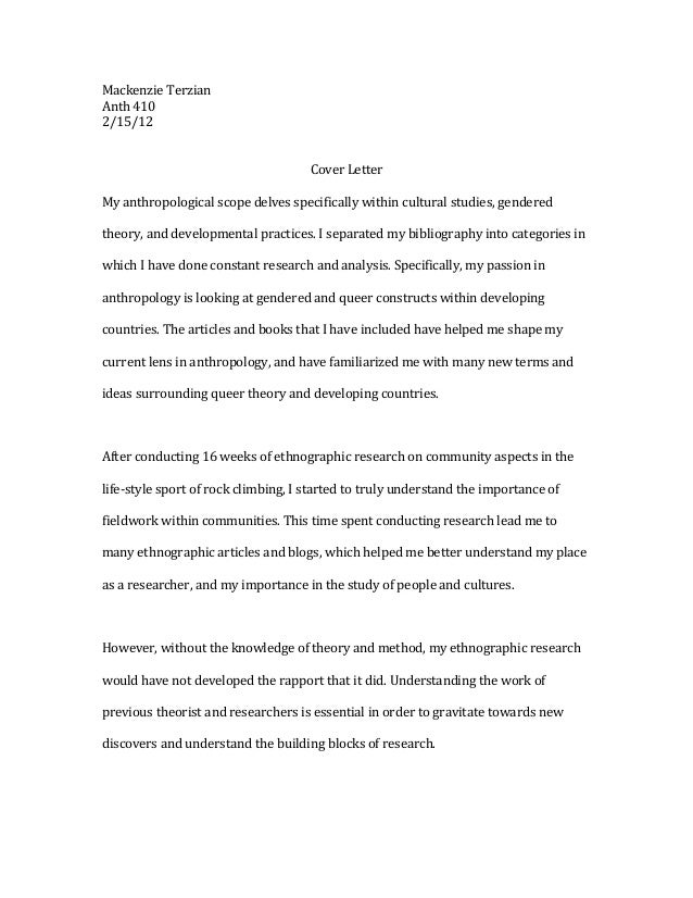 Mackenzie Terzian Anth 410 2/15/12                                       Cover Letter My anthropological scope delves spec...