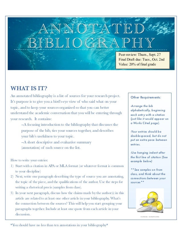 creswell guidelines for annotated bibliography View introduction, research questions, and 8-entry annotated bibliography from pubh 6035 at walden university  following creswell's guidelines,.