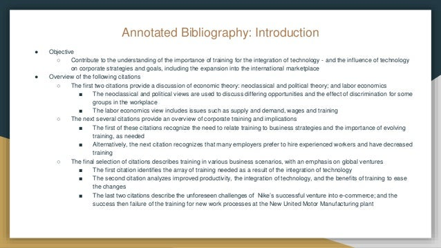 introduction for annotated bibliography