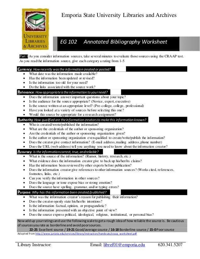 mla annotated bibliography worksheet