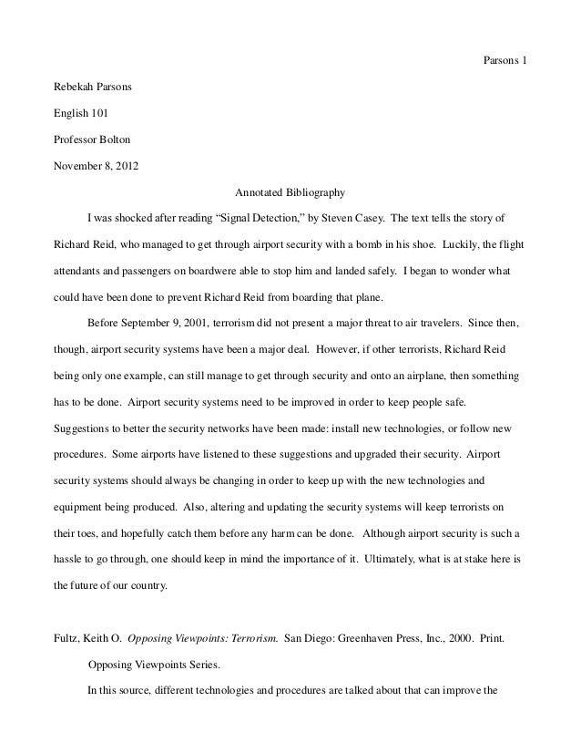 Parsons 1Rebekah ParsonsEnglish 101Professor BoltonNovember 8, 2012                                        Annotated Bibli...