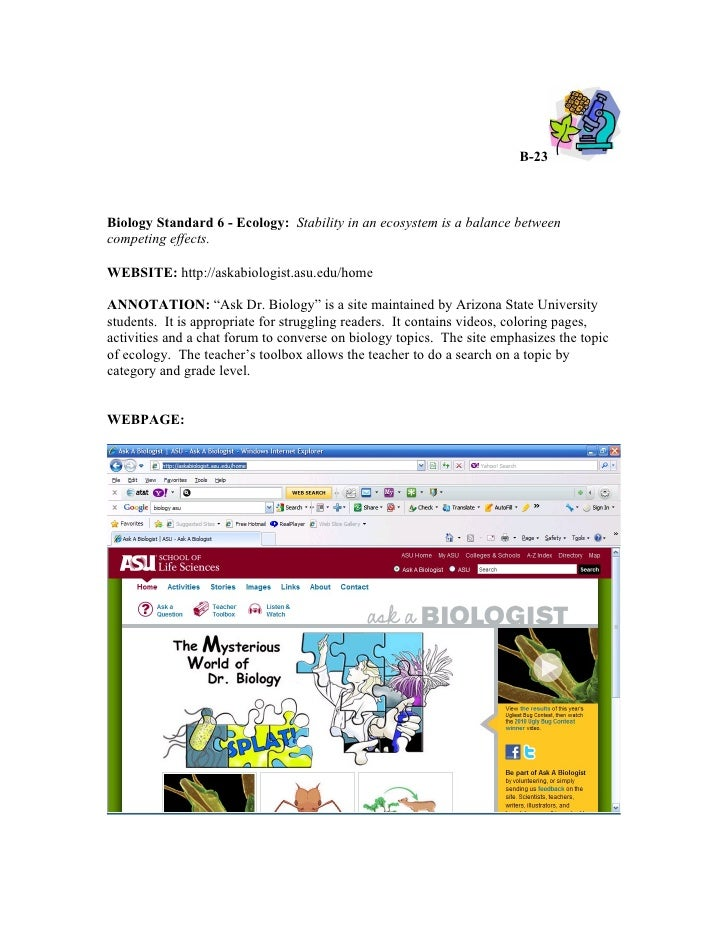 Annotated biology technology resources