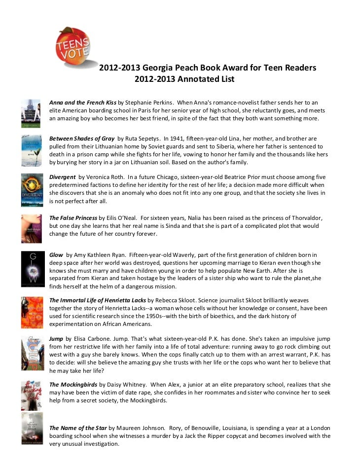2012-2013 Georgia Peach Book Award for Teen Readers                           2012-2013 Annotated ListAnna and the French ...