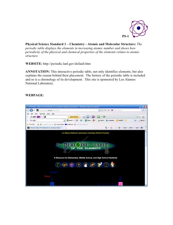 PS 1Physical Science Standard 1 U2013 Chemistry   Atomic And Molecular  Structure: Theperiodic Table ...