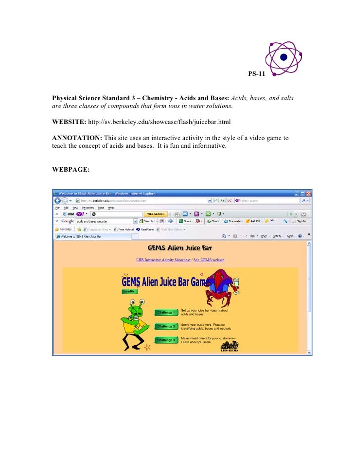 Annotated physical science technology resources – Alien Juice Bar Worksheet