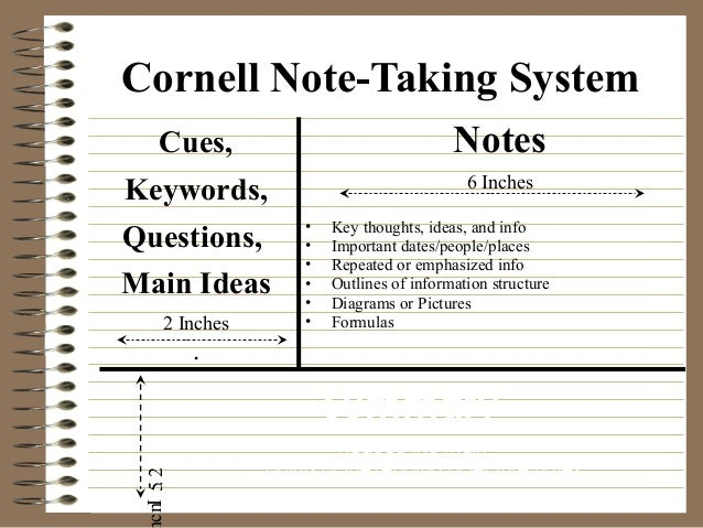 Sample Cornell Note Researched Based Instructional Strategy Cornell