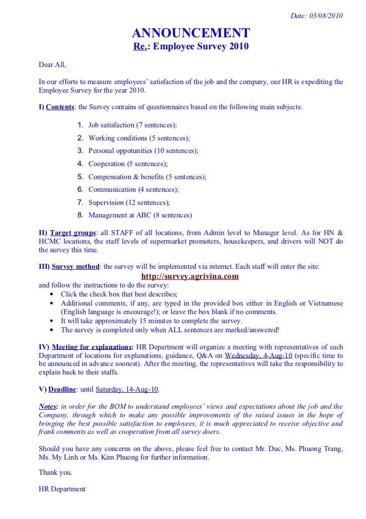 Date: 03/08/2010                               ANNOUNCEMENT                                Re.: Employee Survey 2010Dear A...