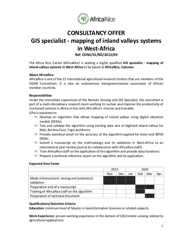 1 CONSULTANCYOFFER GISspecialist‐mappingofinlandvalleyssystems inWest‐Africa Ref:CONS/01/RD/2013/09 TheAfri...