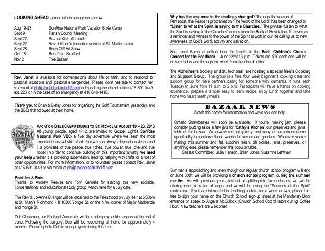 Announcements 16 June 2013