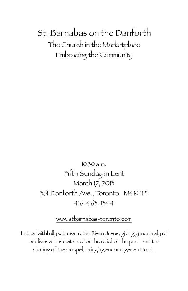 St. Barnabas on the Danforth            The Church in the Marketplace              Embracing the Community                ...