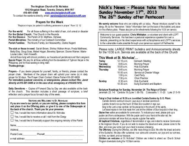 photo about St Nicholas Prayer Printable known as Bulletins 17 November 2013