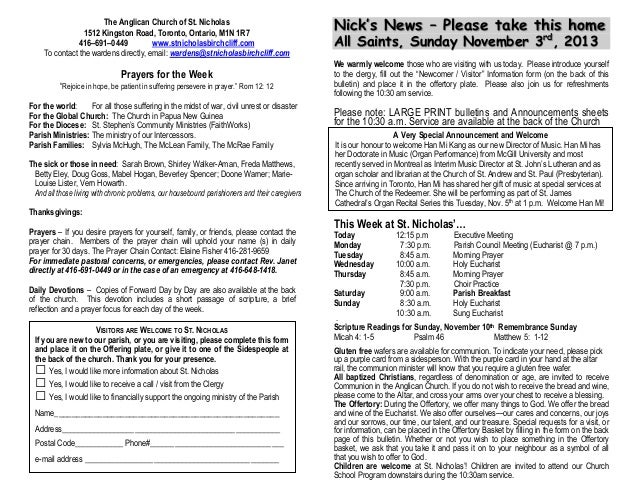 The Anglican Church of St. Nicholas 1512 Kingston Road, Toronto, Ontario, M1N 1R7 416–691–0449 www.stnicholasbirchcliff.co...