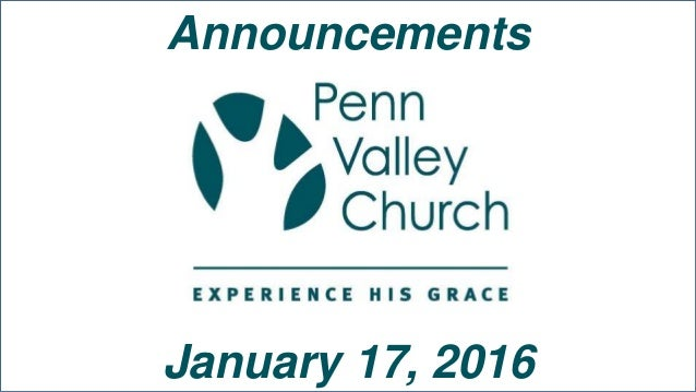 Announcements January 17, 2016