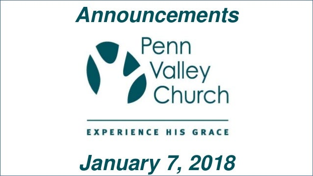Announcements January 7, 2018