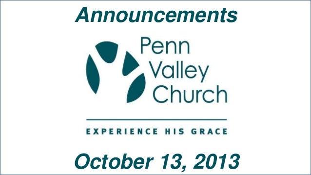 Announcements October 13, 2013