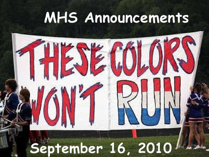 MHS Announcements September 16, 2010