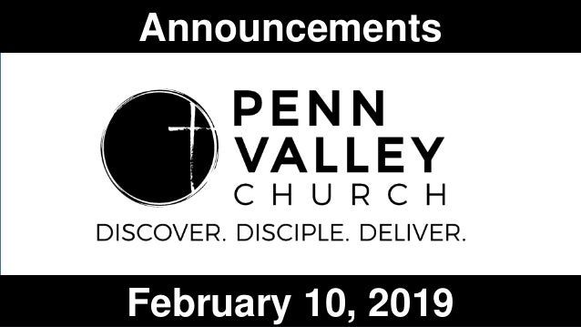 Announcements February 10, 2019