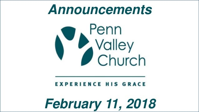 Announcements February 11, 2018